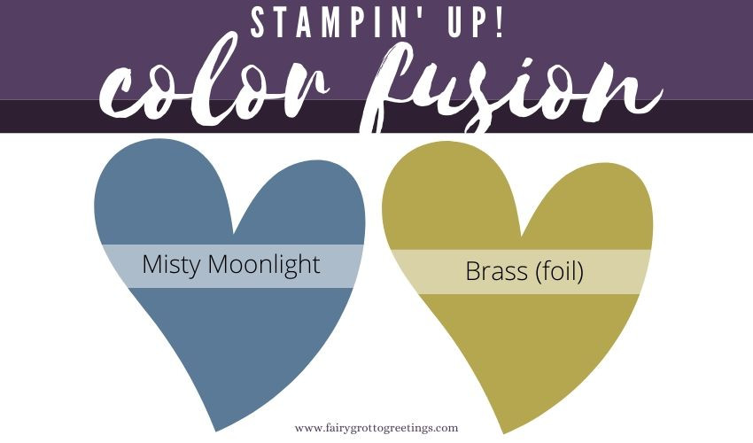 Stampin' Up! Color Fusion inspiration in Misty Moonlight and Brass (foil).