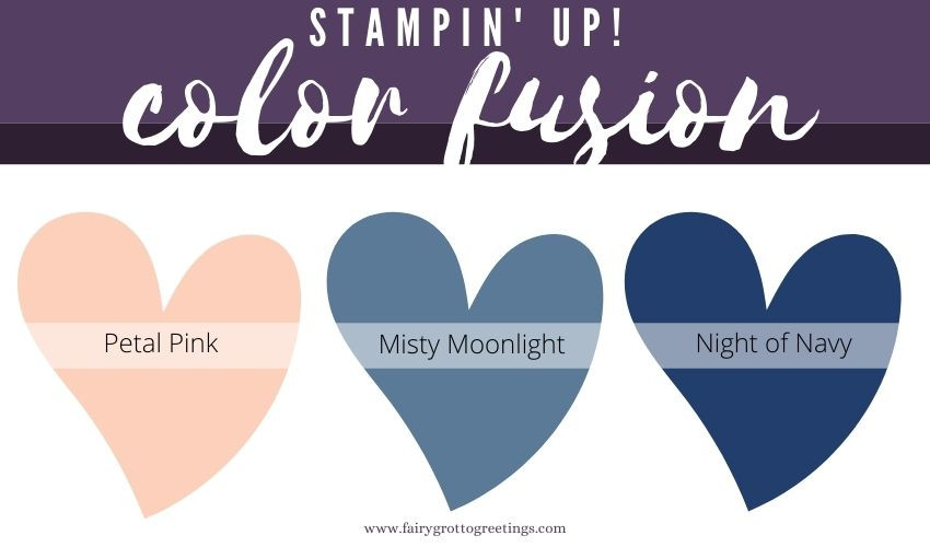 Stampin' Up! Color Fusion inspiration in Petal Pink, Night of Navy and Misty Moonlight.