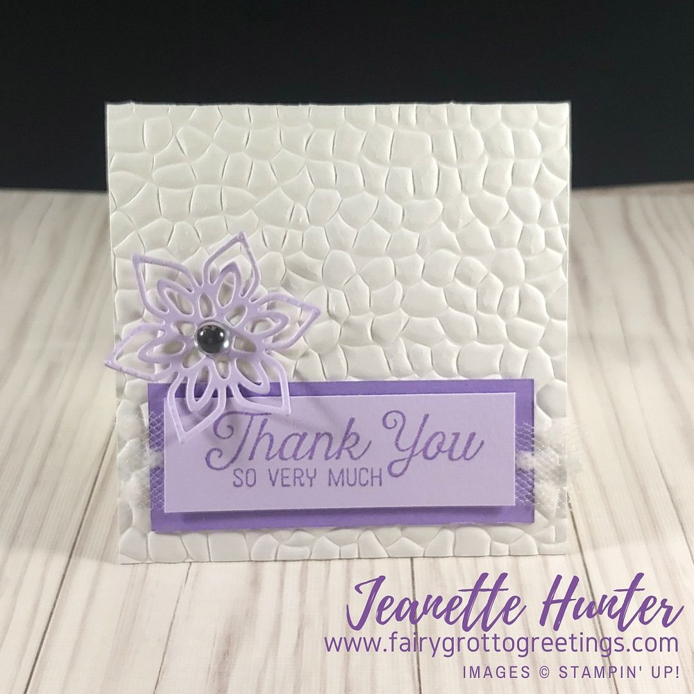 Stampin' Up! Thank you card in Highland Heather and Purple Posy