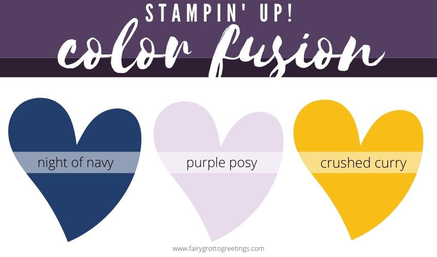 Stampin' Up! Color Fusion inspiration in Night of Navy, Purple Posy and Crushed Curry.