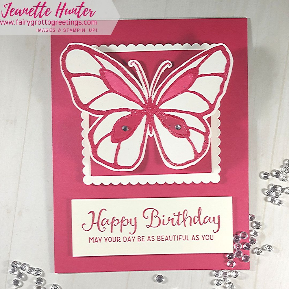 Stampin' Up! Beautiful day Happy Birthday card in Lovely Lipstick