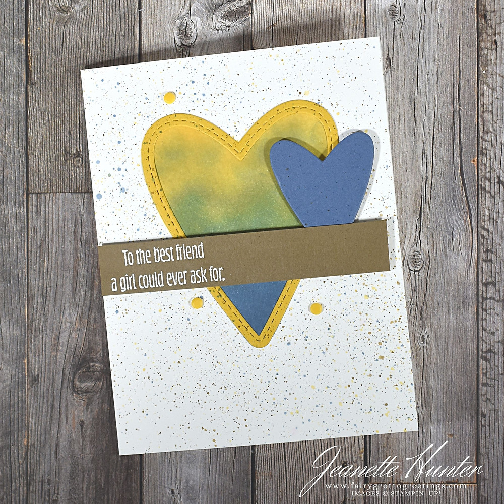 Image of handmade card using Stampin' Up! products.  Features the Meant to Be stamp set and Stitched Be Mine dies. Done in Bumblebee, Misty Moonlight and Soft Suede.