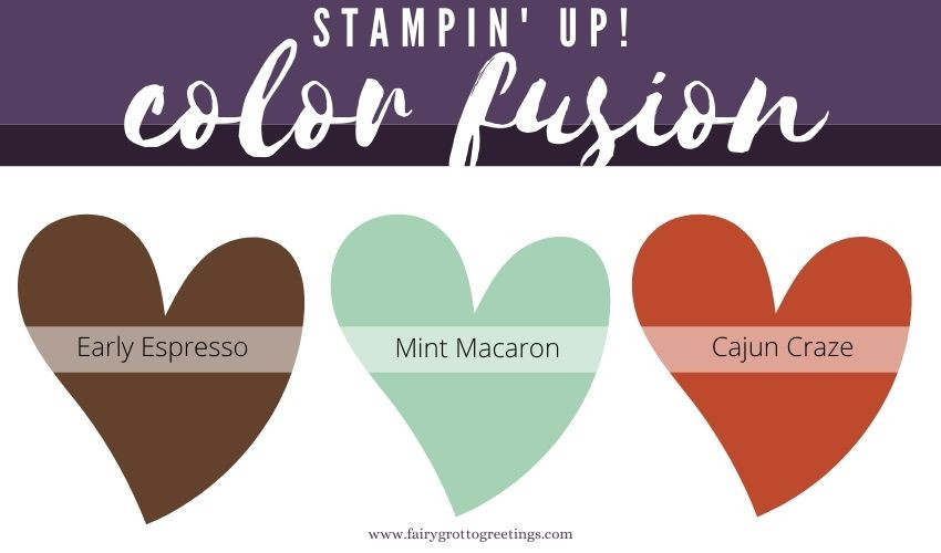 Stampin' Up! Color Fusion inspiration in Early Espresso, Cajun Craze and Mint Macaron colors.