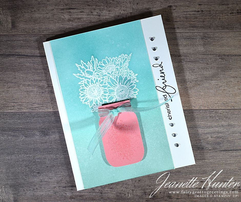 Image of handmade card using Stampin' Up! products.  Features the Lovely You and Jar of Flowers stamp sets. Done in Bermuda Bay, Pool Party and Flirty Flamingo colors.
