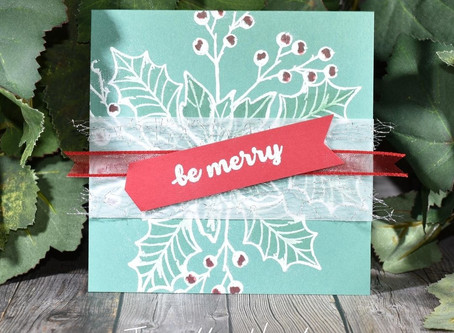 Poinsettia Petals with Banner Year - Be Merry!