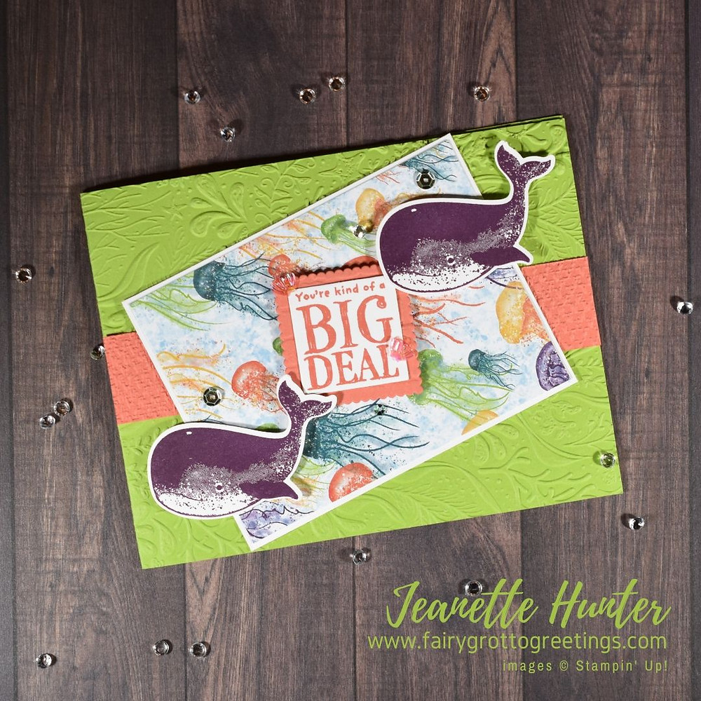 Image of handmade card using Stampin' Up! products.  Features the Whale of a Time Suite Collection. Done in Blackberry Bliss, Calypso Coral and Granny Apple Green colors.