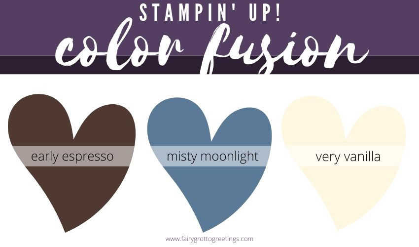 Stampin' Up! Color Fusion inspiration in Misty Moonlight, Early Espresso and Very Vanilla.
