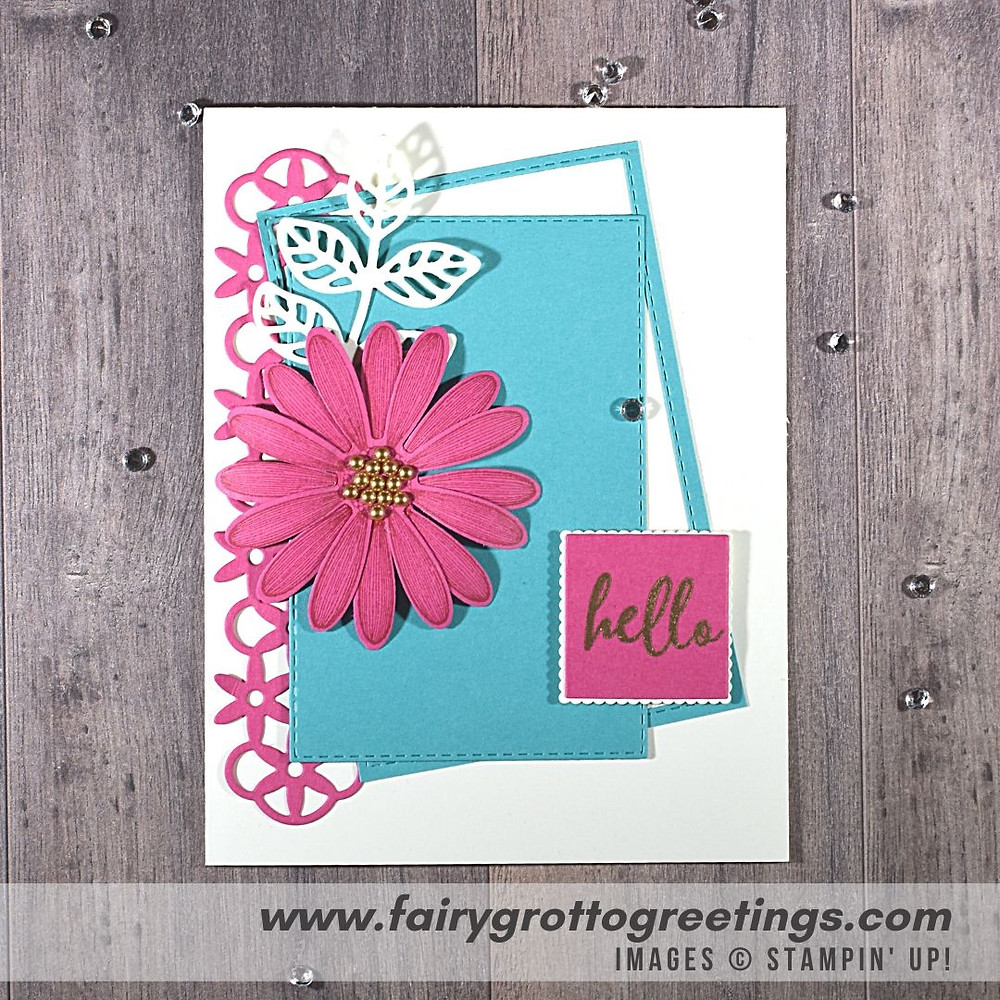 "Handmade ""Hello"" card using Stampin' Up! products in Melon Mambo and Bermuda Bay"