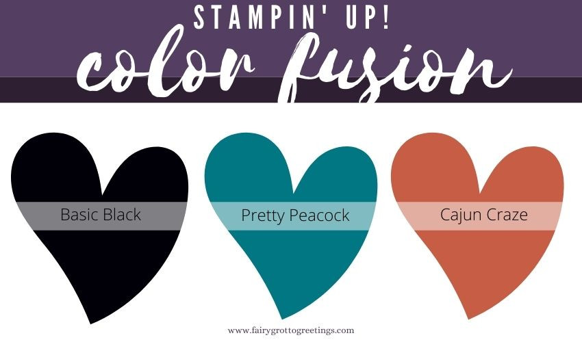 Stampin' Up! Color Fusion inspiration in Basic Black, Pretty Peacock and Cajun Craze.