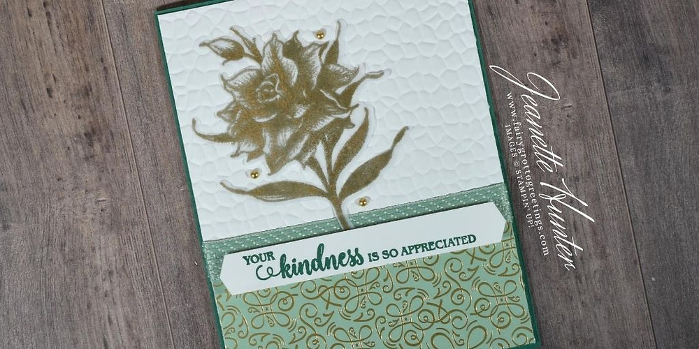 Image of handmade card using Stampin' Up! products.  Features the Flowering Blooms bundle. Done in Shaded Spruce, Mint Macaron and Whisper White.