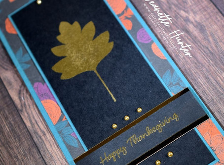 Slimline Card with Love of Leaves & Banner Year