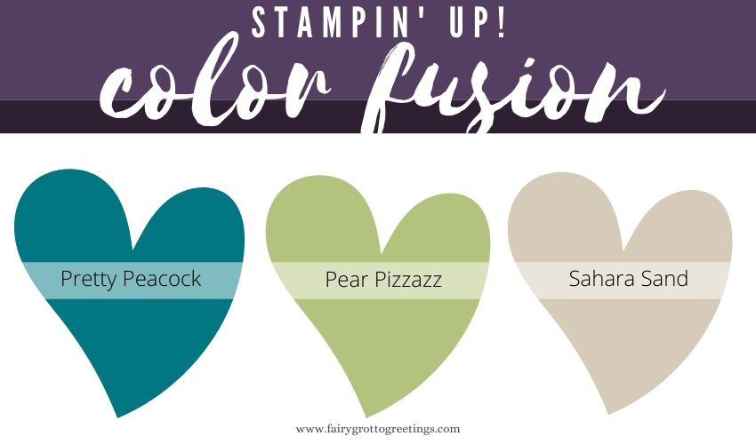 Stampin' Up! Color Fusion inspiration in Pretty Peacock, Pear Pizzazz and Sahara Sand.