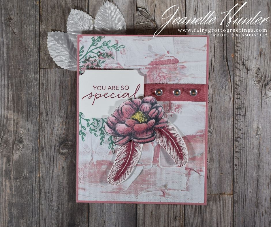 Image of handmade card using Stampin' Up! products.  Features the Tasteful Touches bundle. Done in Rococo Rose, Merry Merlot and Just Jade colors.