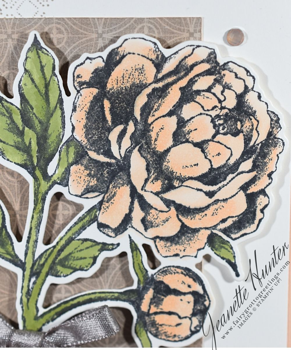 Close up of the large stamped peony flower from the Prized Peony stamp set from Stampin' Up!