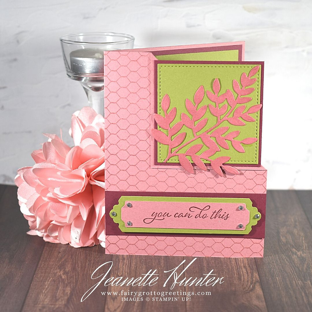 Image of handmade card using Stampin' Up! products.  Features the Forever Fern stamp and die bundle, Lovely Labels pick a punch and Stitched Shapes dies. Done in Merry Merlot, Rococo Rose and Old Olive colors.