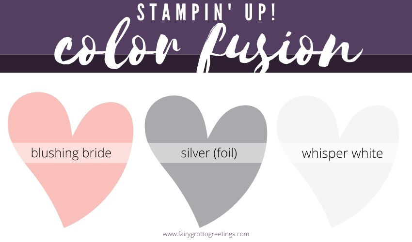 Stampin' Up! Color Fusion inspiration in Blushing Bride, Whisper White and Silver Foil.