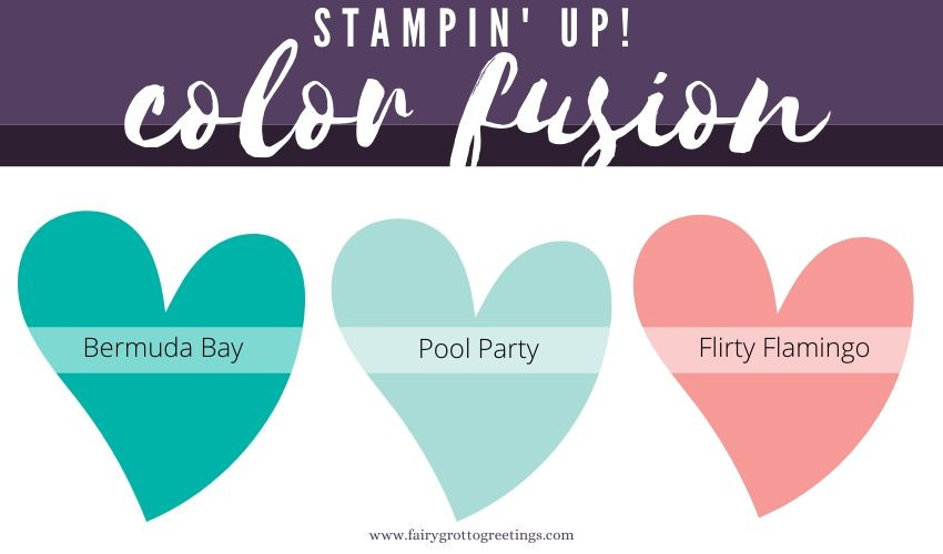 Stampin' Up! Color Fusion inspiration in Bermuda Bay, Pool Party and Flirty Flamingo.