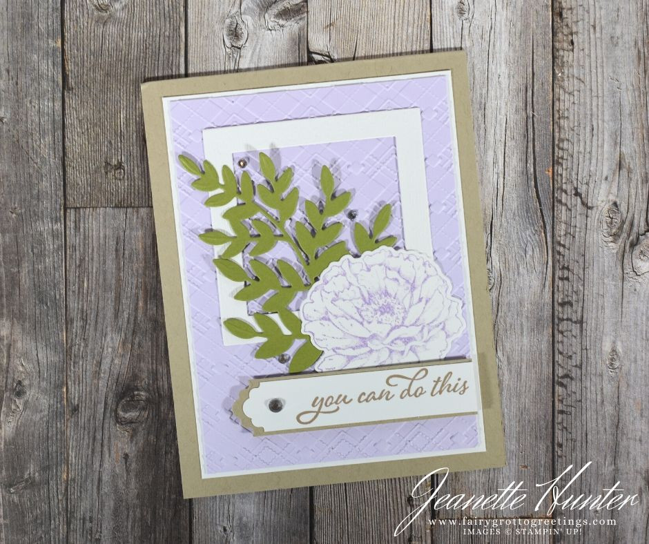 Image of handmade card using Stampin' Up! products.  Features the Prized Peony and Forever Fern stamp and die bundles. Done in Crumb Cake, Purple Posy and Green Olive colors.