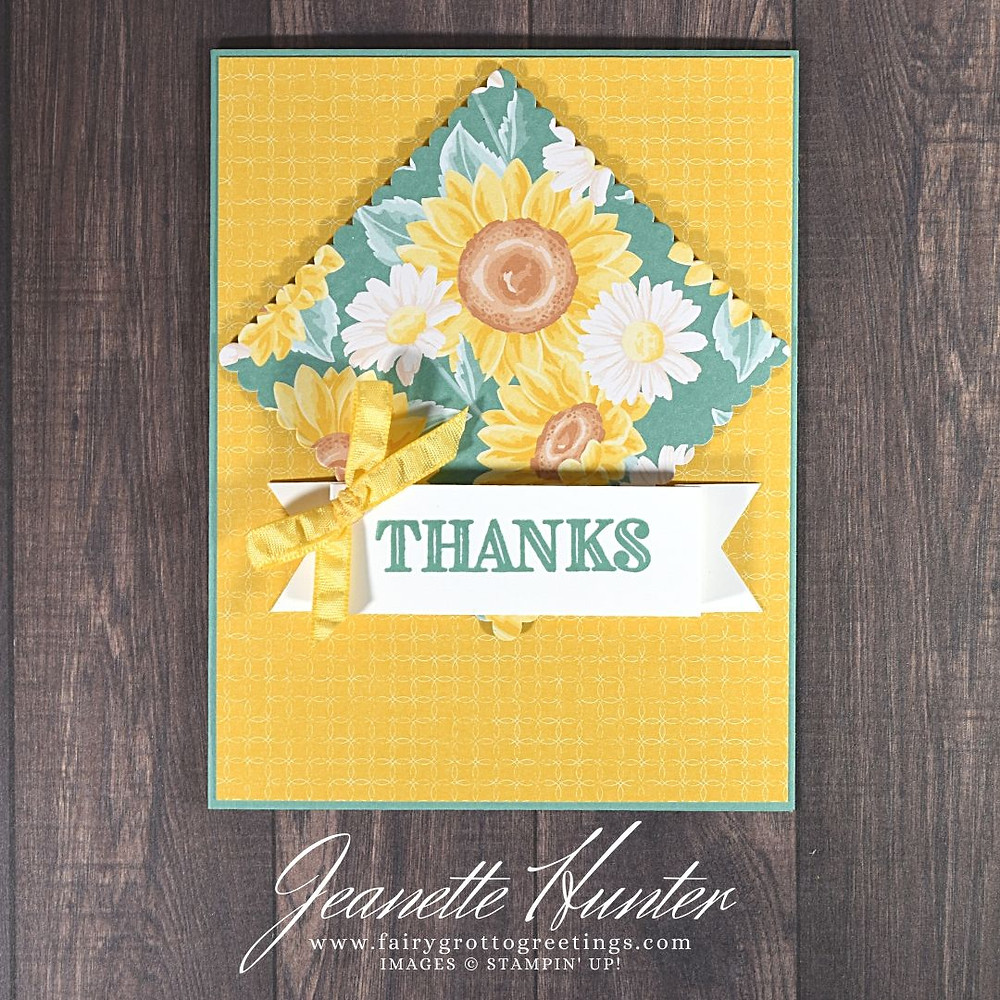 Image of handmade card using Stampin' Up! products.  Features the Ornate Thanks stamp set, Layering Squares dies and Triple Banner punch. Done in Just Jade, Bumblebee and Cinnamon Cider colors.