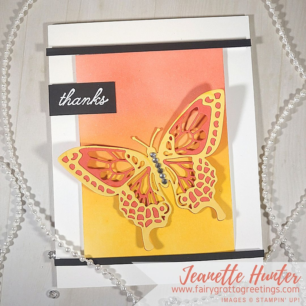 Stampin' Up! thank you card using their Butterfly Beauty dies and the thanks sentiment from the matching Beauty Abounds stamp set.  Featuring Night of Navy, Terracotta Tile and So Saffron Stampin' Up! colors.
