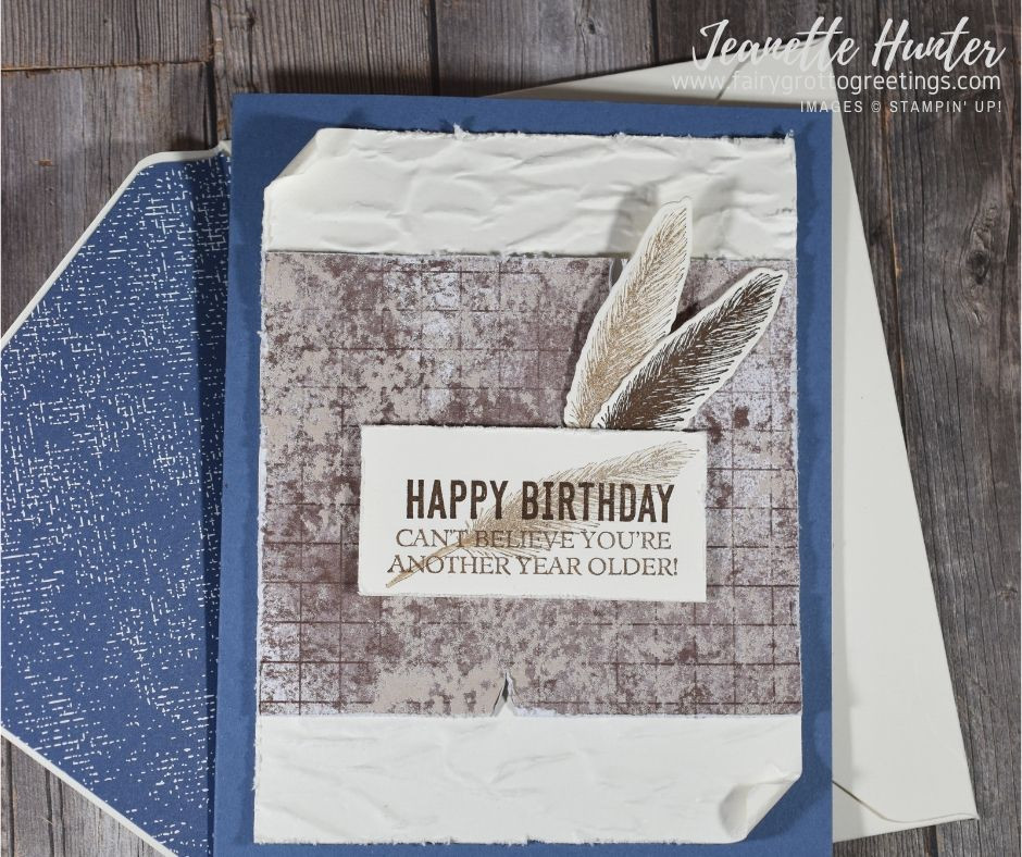 Image of handmade card using Stampin' Up! products.  Features the Beautiful World stamp set and matching World Map dies. Done in Misty Moonlight, Early Espresso and Very Vanilla colors.