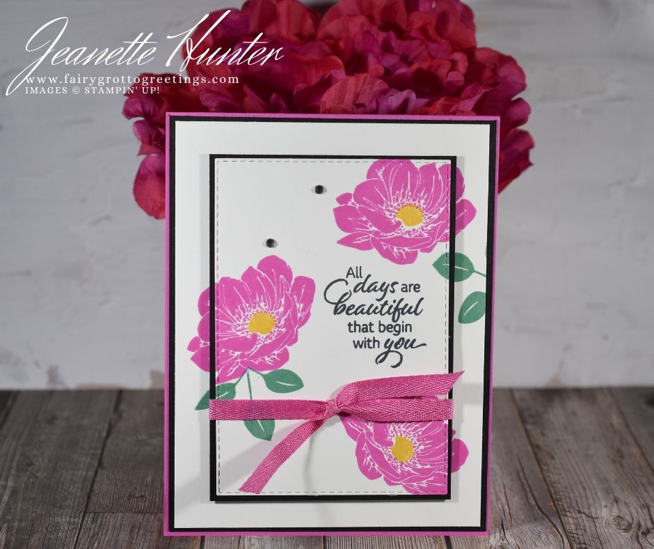 Image of handmade card using Stampin' Up! products.  Features the Floral Essence stamp set and Stitched Rectangle dies. Done in Magenta Madness, Just Jade and Bumblebee colors.