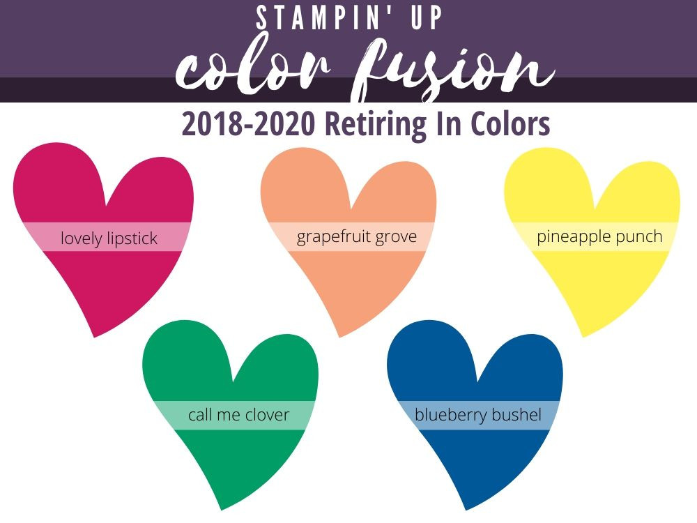 Image of the soon to be retiring Stampin' Up! 2018 - 2020 in colors.