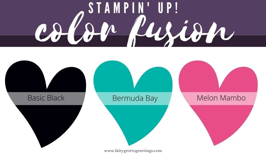 Stampin' Up! Color Fusion inspiration in Basic Black, Bermuda Bay and Melon Mambo colors.