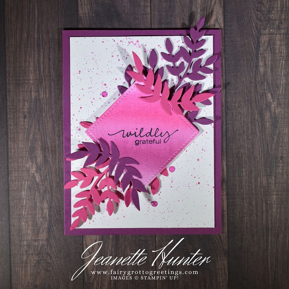 Image of handmade card using Stampin' Up! products.  Features the Lovely You stamp set and Forever Flourishing dies. Done in Rich Razzleberry, Magenta Madness and Melon Mambo colors.