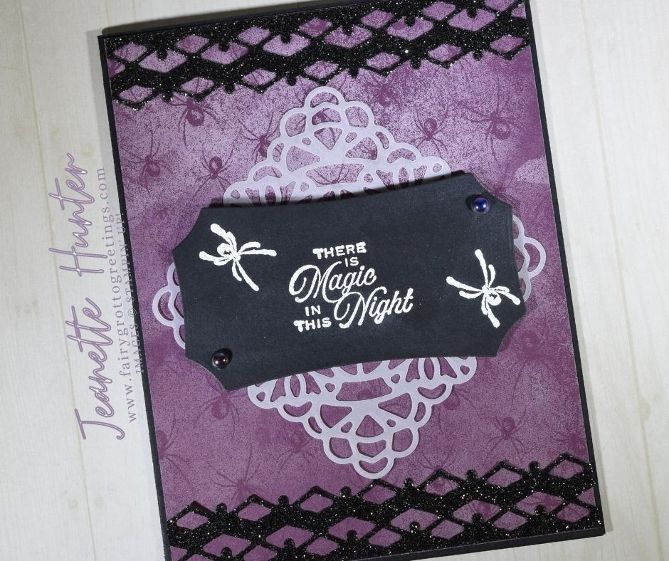 Image of handmade card using Stampin' Up! products.  Features the Magic in this Night suite. Done in Basic Black, Blackberry Bliss and White colors.