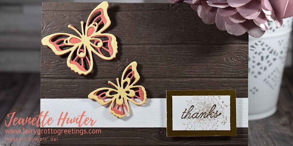 Image of handmade card using Stampin' Up! products.  Features the Beauty Abounds stamp set and matching Butterfly Beauty dies. Done in Early Espresso, Terracotta Tile and So Saffron colors.