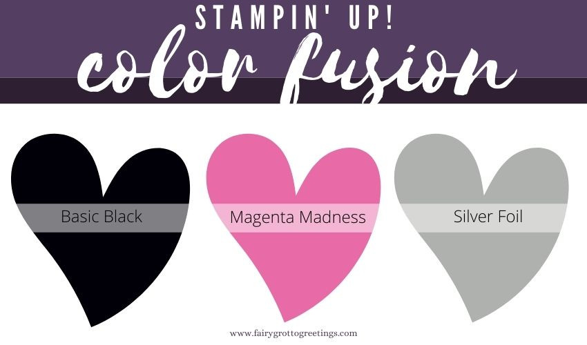 Stampin' Up! Color Fusion inspiration in Basic Black and Magenta Madness colors.