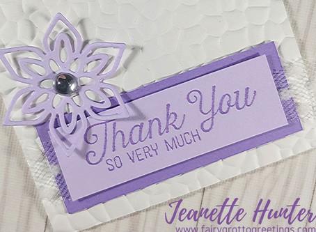 Mini Elegant 3x3 Thank You Card in Purple Posy and Highland Heather