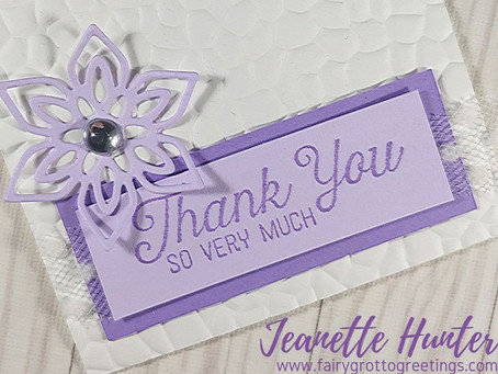Mini Elegant 3x3 Thank You Card in Purple Posy and Highland Heather