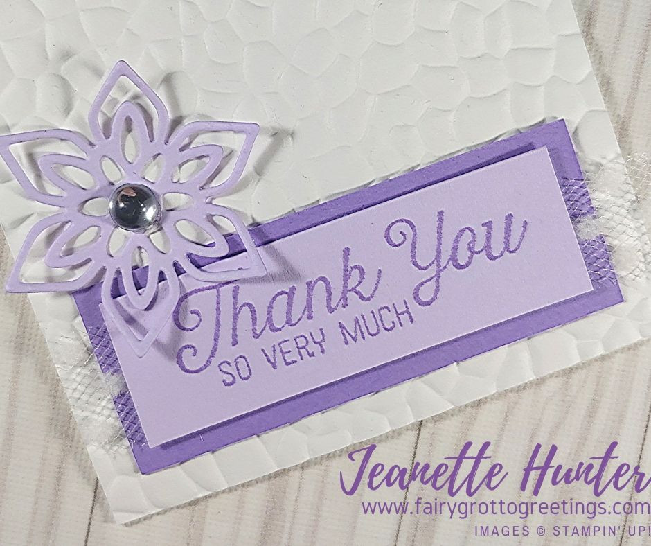 Close up thank you card in Whisper White, Highland Heather and Purple Posy