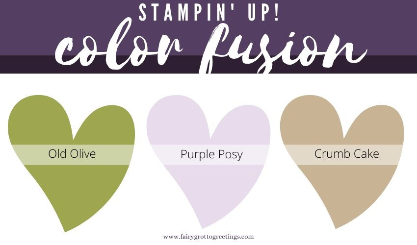 Stampin' Up! Color Fusion inspiration in Crumb Cake, Purple Posy and Green Olive.