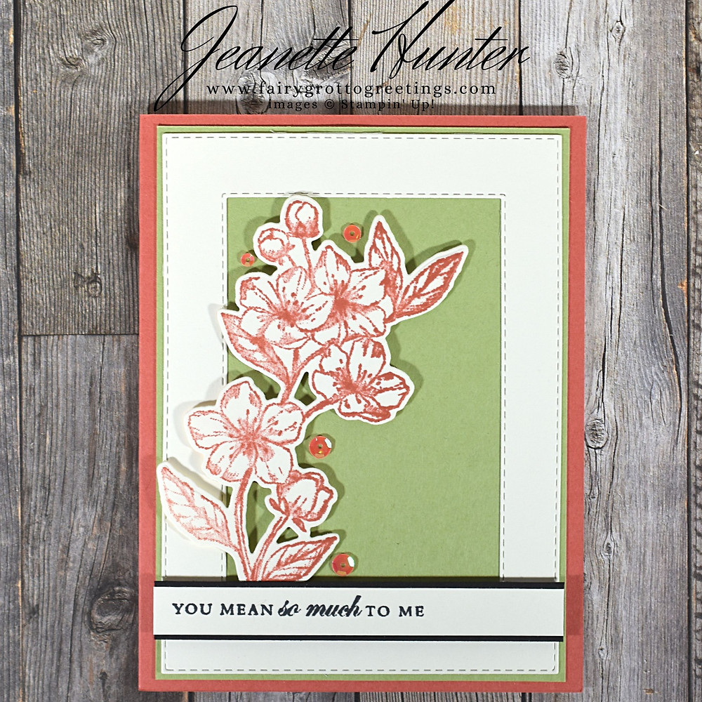Image of handmade card using Stampin' Up! products.  Features the Forever Blossoms stamp set, Cherry Blossoms and Stitched Rectangles dies. Done in Terracotta Tile, Pear Pizzazz, Basic Black and Whisper White.