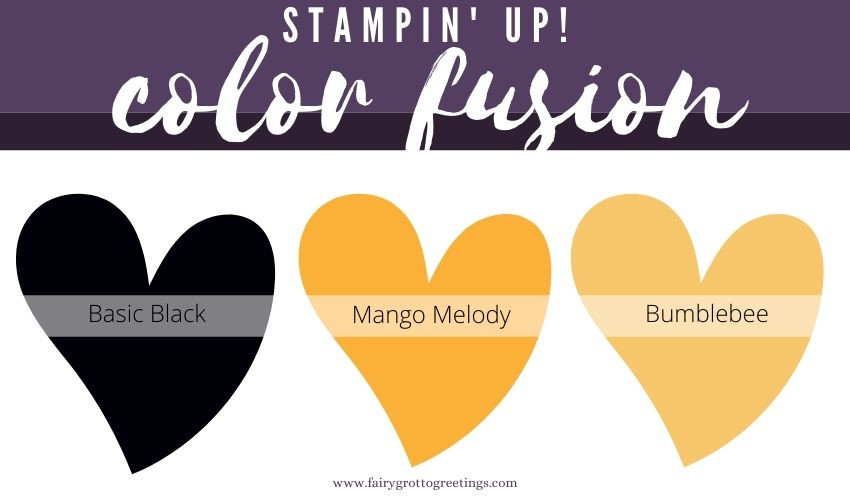Stampin' Up! Color Fusion inspiration in Basic Black, Mango Melody and Bumblebee colors.