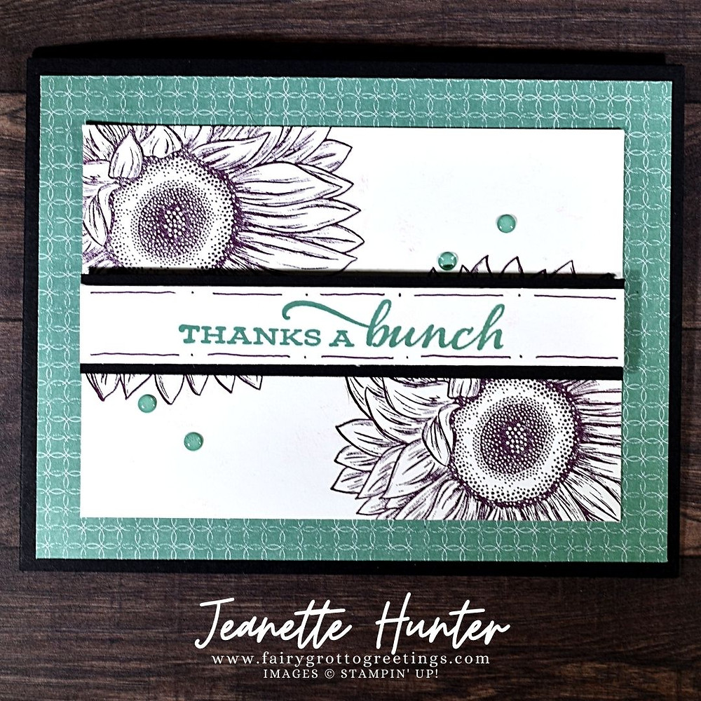 Image of handmade card using Stampin' Up! products.  Features the Celebrate Sunflowers stamp set. Done in Basic Black, Blackberry Bliss and Just Jade colors.