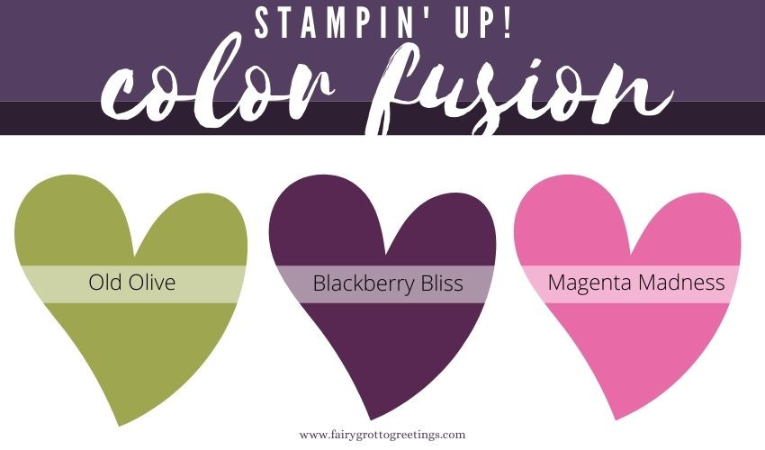 Stampin' Up! Color Fusion inspiration in Blackberry Bliss, Magenta Madness and Old Olive.