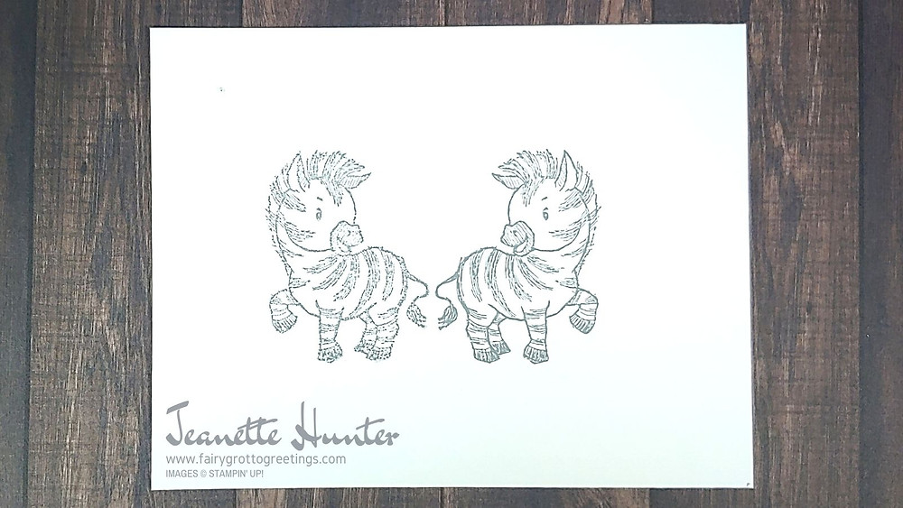 Image of mirror image stamped zebras from Stampin' Up!'s Zany Zebras stamp set