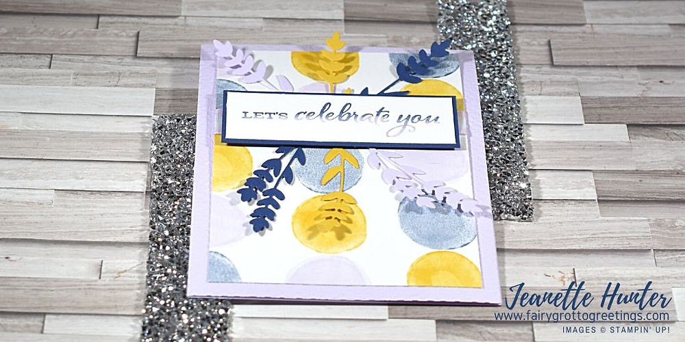 Image of handmade card using Stampin' Up! products.  Features the Celebrate Sunflowers stamp set and matching Sunflowers dies with paper from the Playing with Patterns Designer Series paper pack. Done in Night of Navy, Purple Posy and Crushed Curry colors.