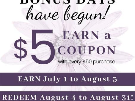 July Bonus Days! & My July Rewards Code!