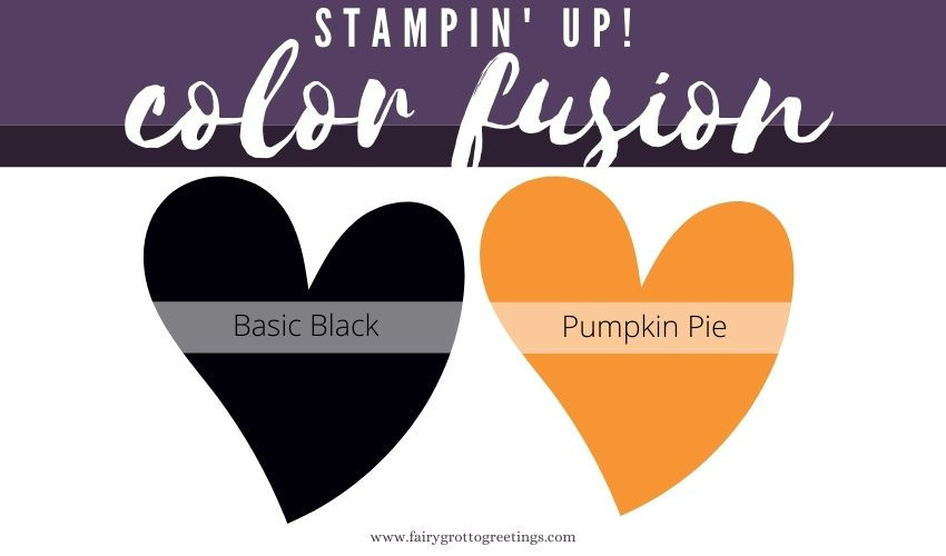 Stampin' Up! Color Fusion inspiration in Basic Black, Pumpkin Pie, Vellum and Black Glitter Paper.