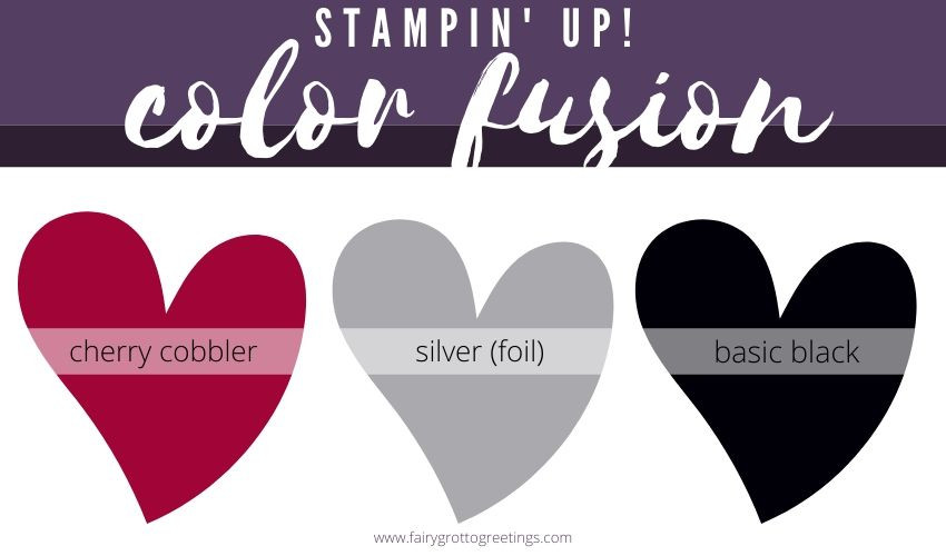Stampin' Up! Color Fusion inspiration in Cherry Cobbler, Basic Black and Silver Foil.