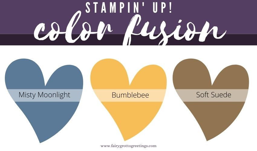 Stampin' Up! Color Fusion inspiration in Bumblebee, Misty Moonlight and Soft Suede.