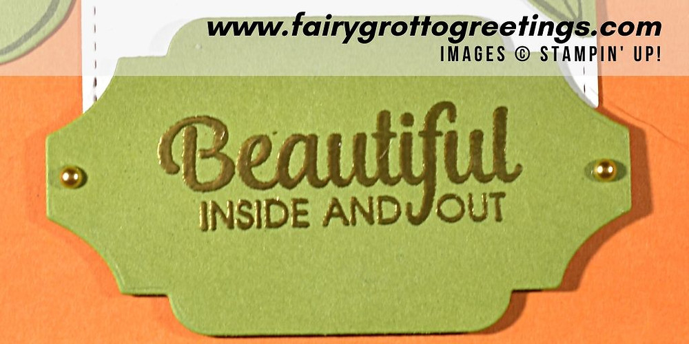 "Close up of the ""Beautiful Inside and Out"" sentiment from the Band Together stamp set from Stampin' Up!"