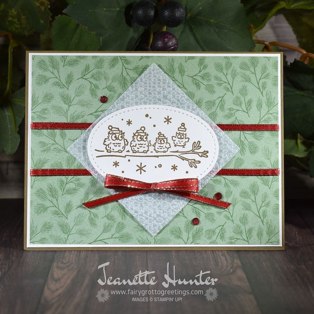 Handmade card using Stampin' Up! products.  Have a Hoot stamp set and Poinsettia Place designer series paper.