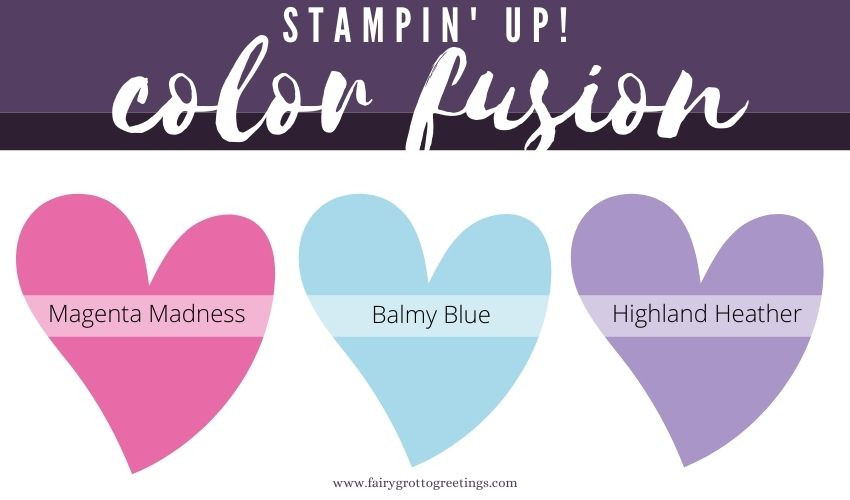 Stampin' Up! Color Fusion inspiration in Magenta Madness, Balmy Blue and Highland Heather colors.