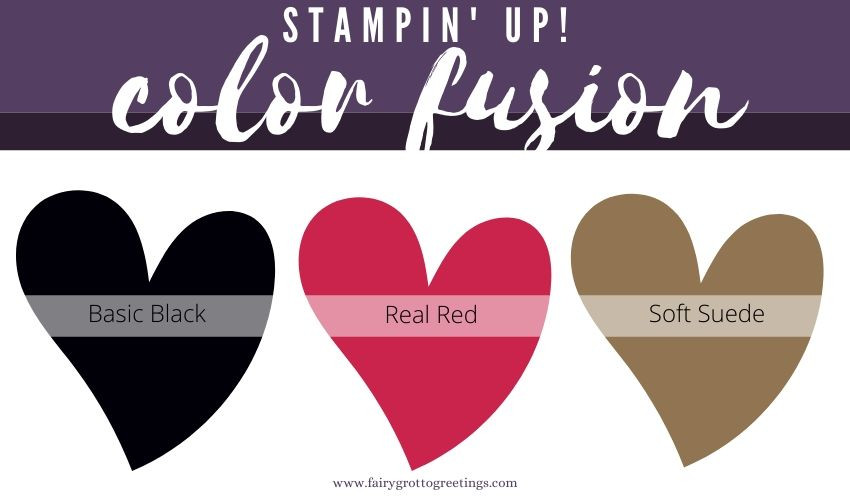 Stampin' Up! Color Fusion inspiration in Basic Black, Real Red and Soft Suede.